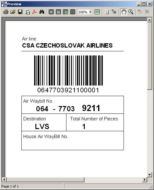 air waybill code: